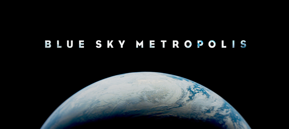 blue sky metropolis logo on top of picture of earth from outer space