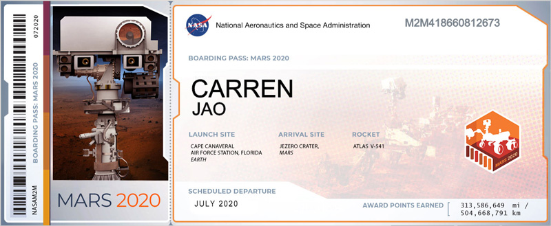 Mars Boarding Pass generated when you submit your name to be sent with the Mars mission | NASA