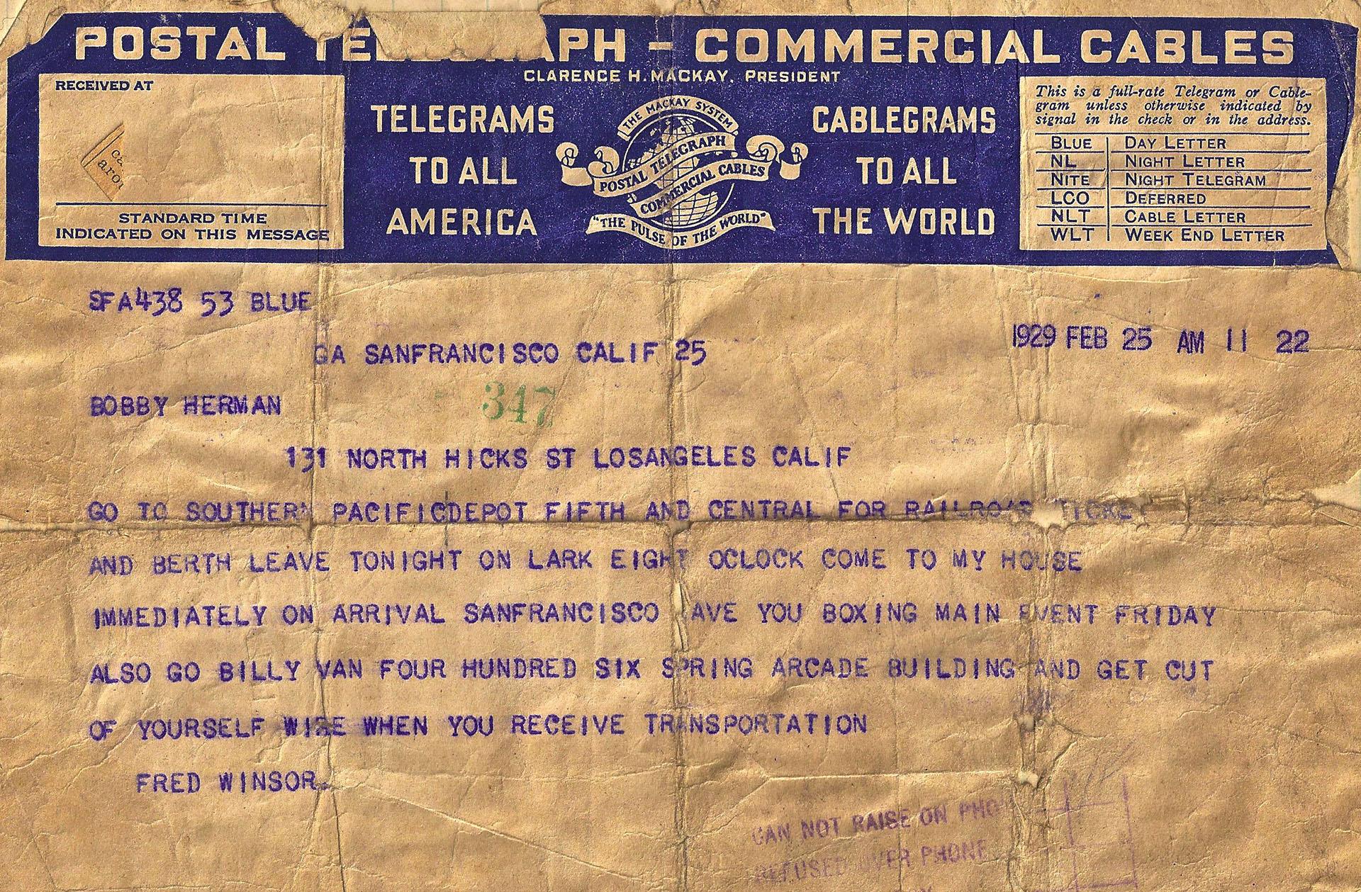 Telegram to Bobby Herman