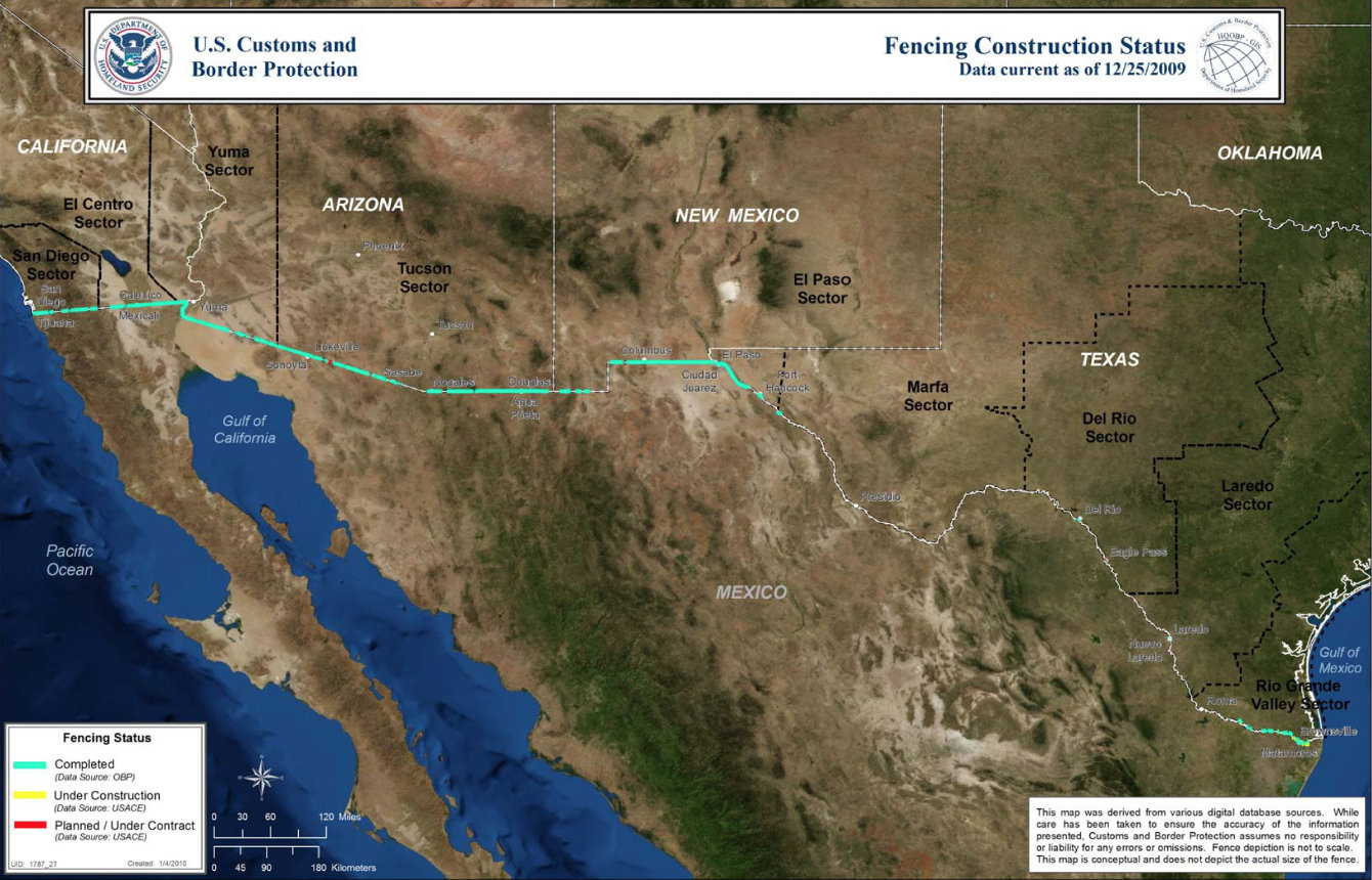U.S. Customs and Border Protection is not releasing current maps of border barriers. This map is from 2009 when the existing fence was nearly complete.