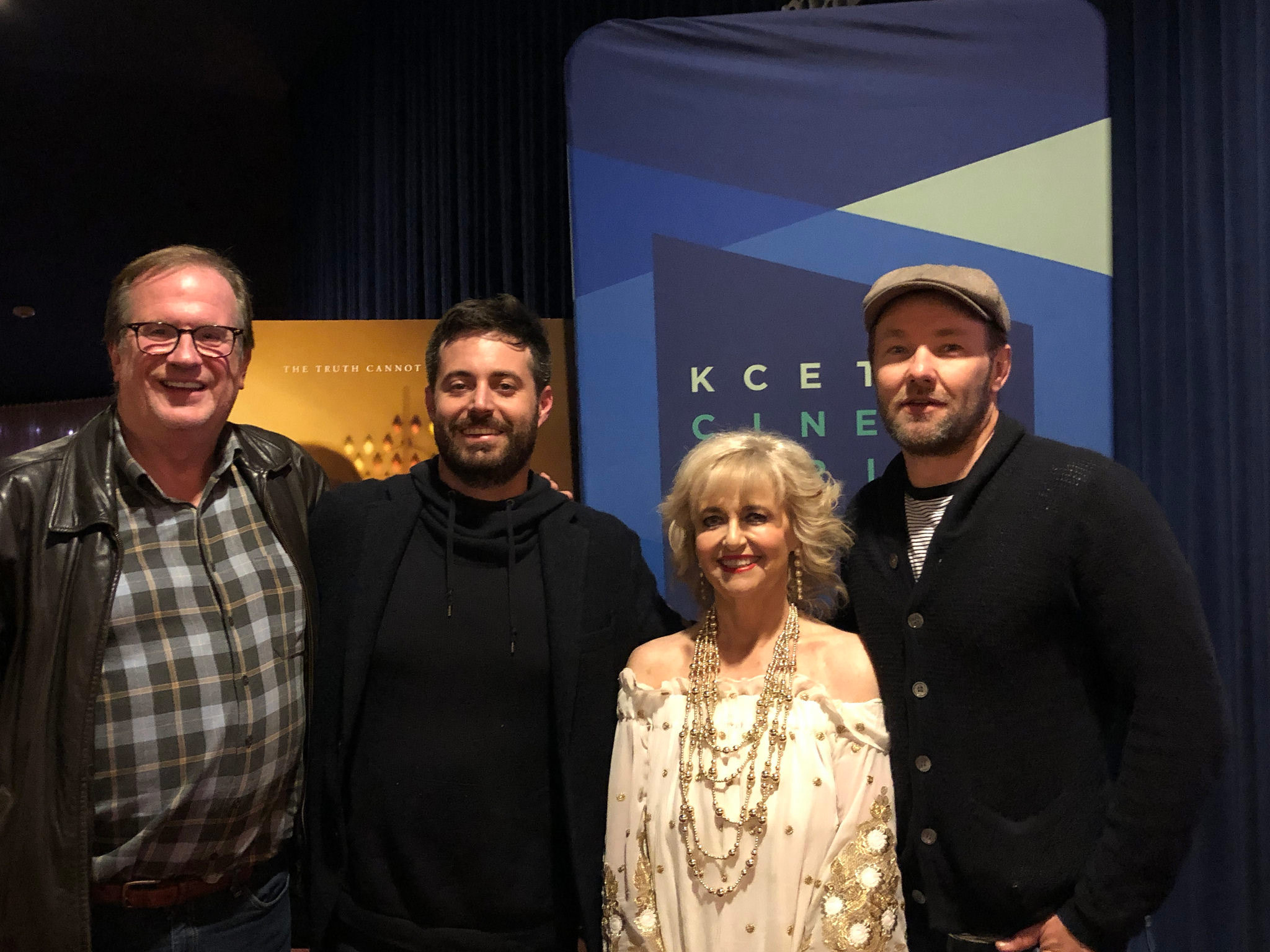 "Cinema Series host Pete Hammond, Author Garrard Conley and Martha Conley and Director/Writer/Producer/Co-Star Joel Edgerton after a screening of ""Boy Erased"""