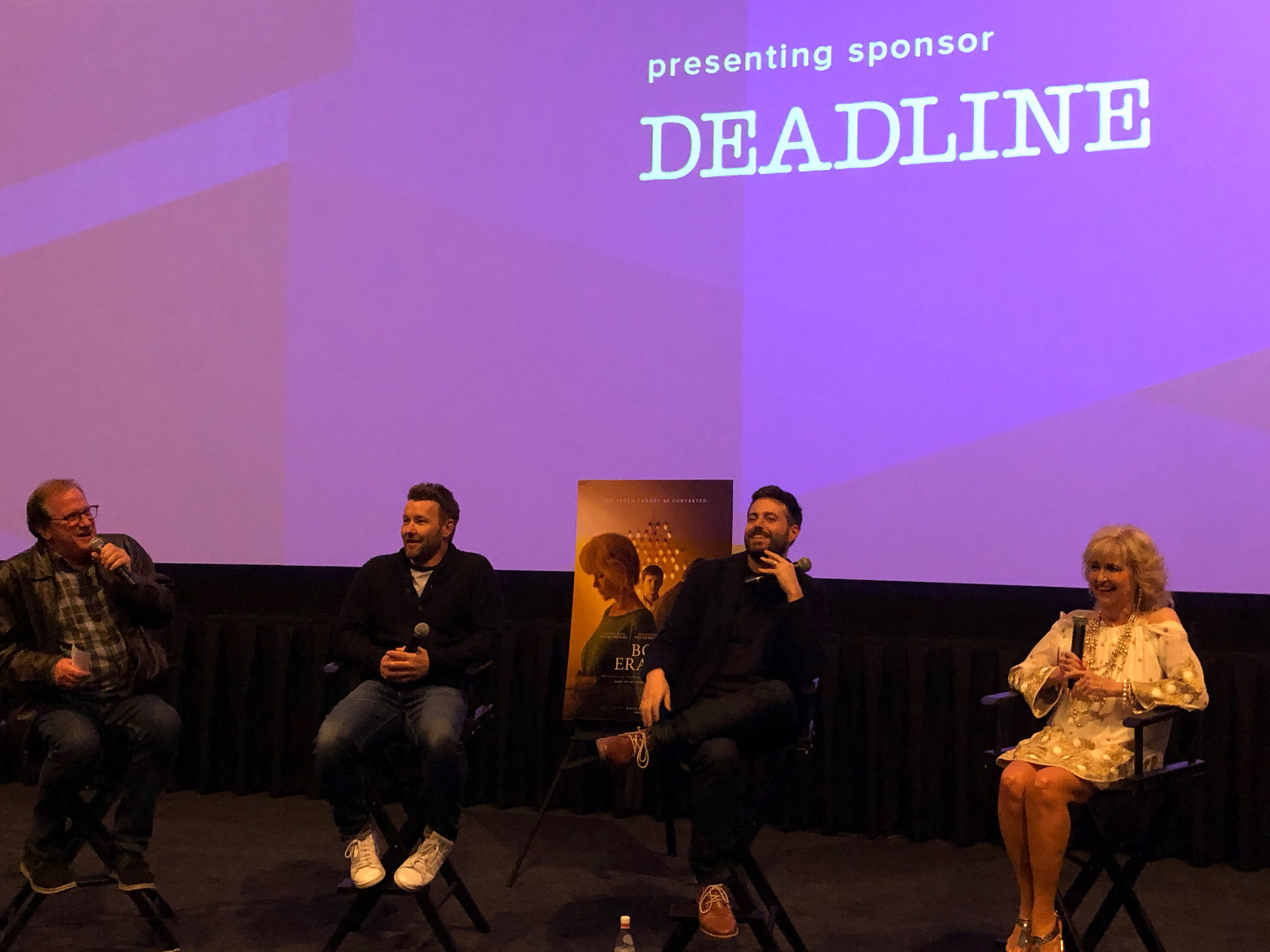 "Cinema Series host Pete Hammond, Director/Writer/Producer/Co-Star Joel Edgerton, Author Garrard Conley and Martha Conley after a screening of ""Boy Erased"""