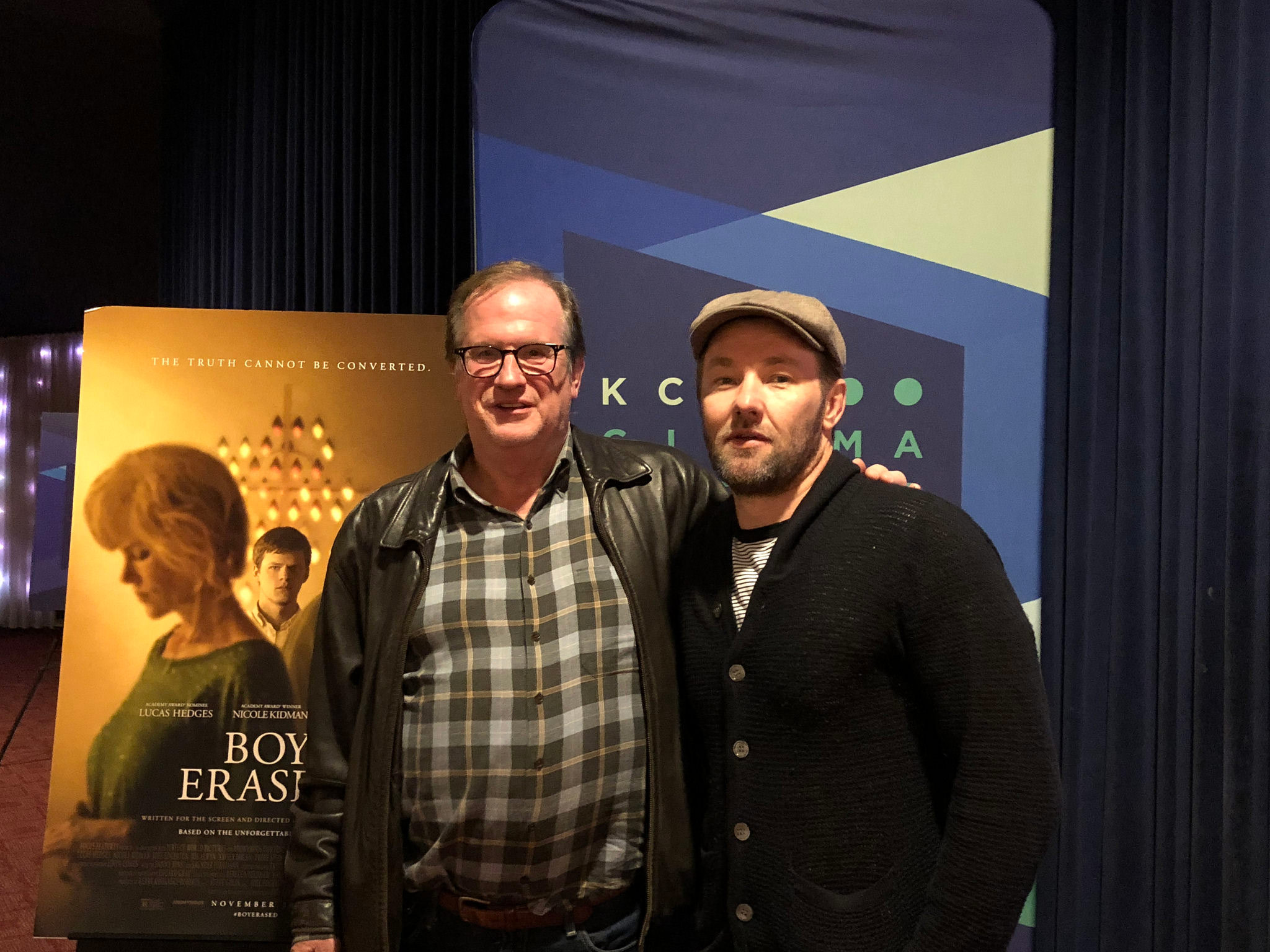 "Cinema Series host Pete Hammond with Director/Writer/Producer/Co-Star Joel Edgerton after a screening of ""Boy Erased"""