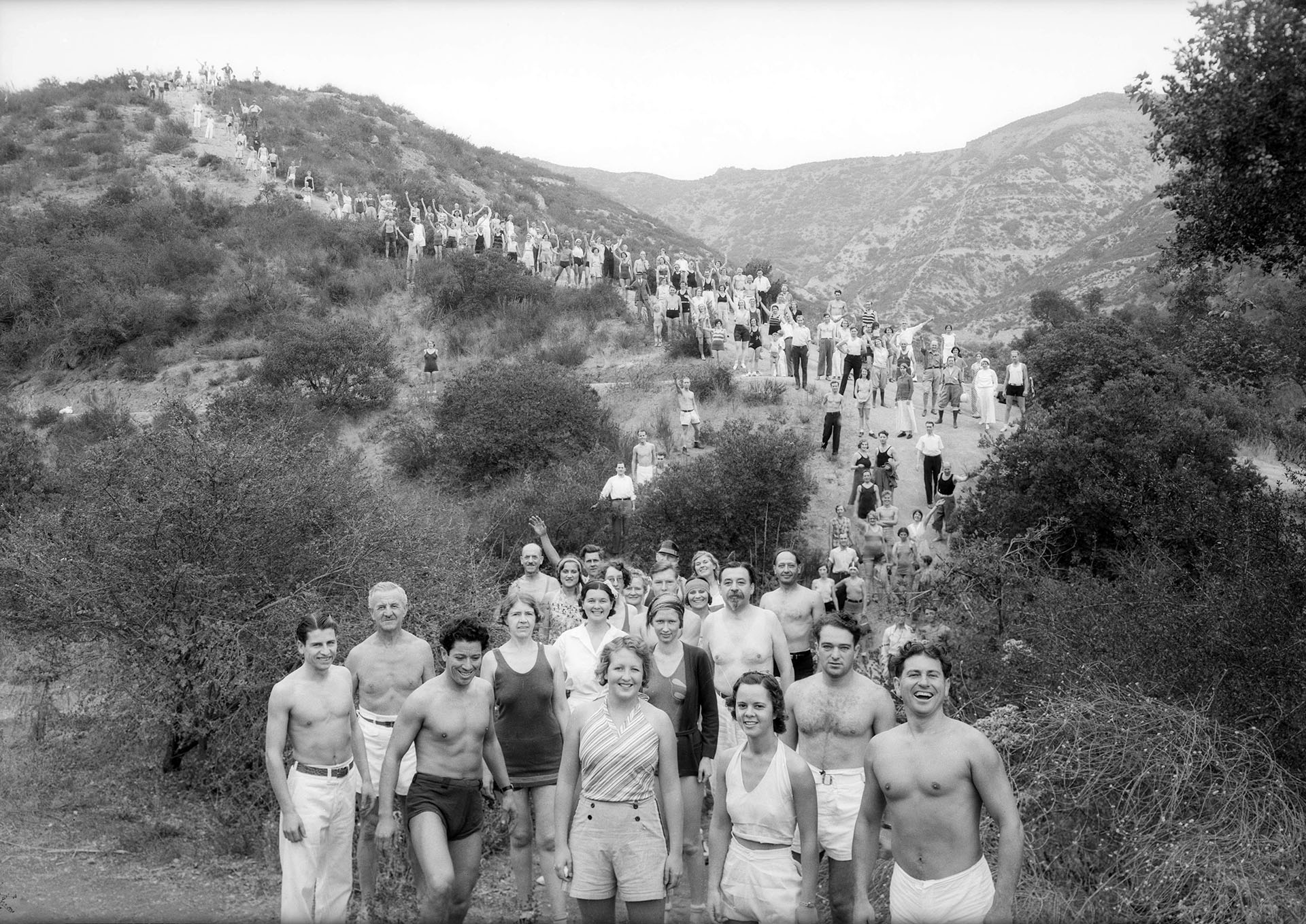 Paul Bragg (front-right) leads his Wanderlusters Hiking Club up Mt. Hollywood in Griffith Park in 1932. Courtesy of the USC Libraries - Dick Whittington Photography Collection.