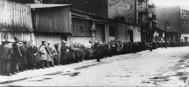 Breadline at McCauley Water Street Mission under Brooklyn Bridge, New York | Photographer unknown