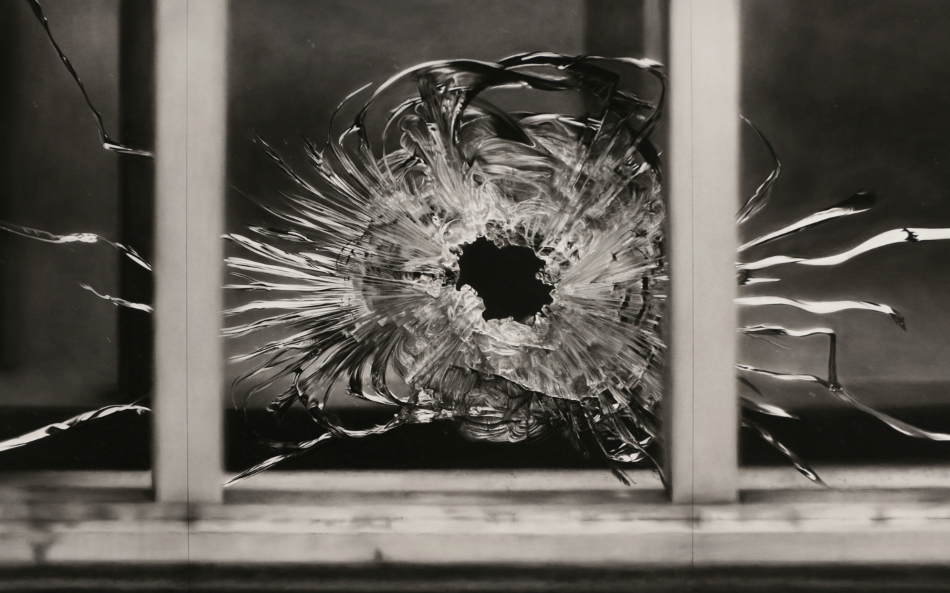 "Robert Longo, ""Untitled (Bullet Hole in Window, January 7, 2015),"" 2015–2016. Charcoal on mounted paper. 193 x 363.2 cm. (76 x 143 in.) 