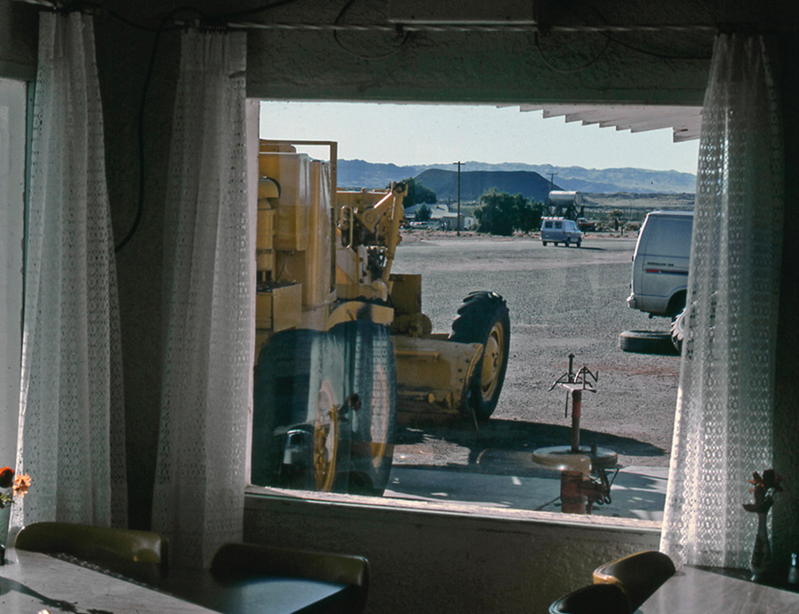 Looking through the cafe window. In the distance is the large Amboy crater.| Shirley Burman