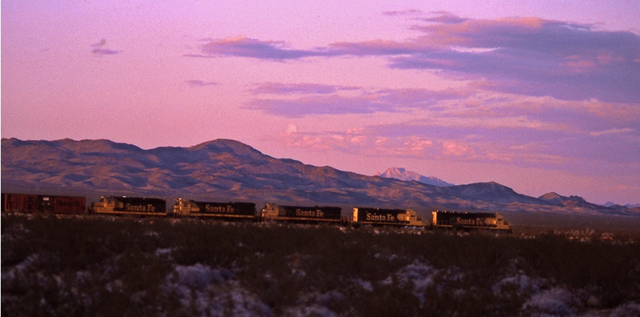 Trains seen from the crater. | Shirley Burman