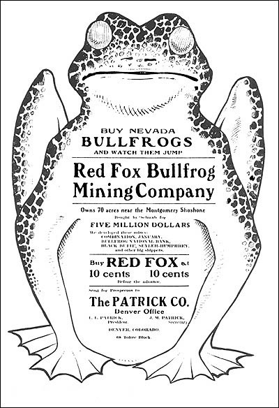 """Buy Nevada Bullfrogs and Watch Them Jump,"" Mining Investor, February, 1906."