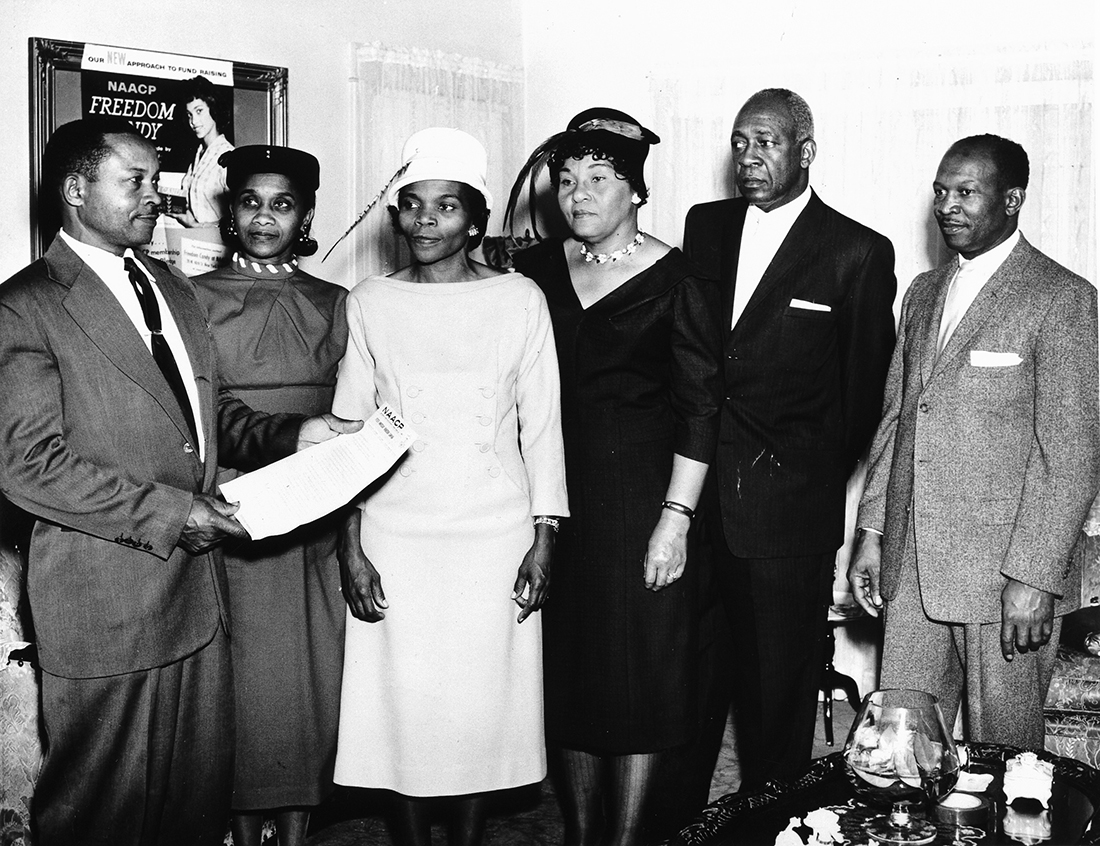 NAACP award, Long Beach, California, ca. 1948. From left to right: Ernest Macbride, Sr., Annabelle Colhn, Lillian Macbride, Ernestine Cheatham, Hilderen Cheatham, Percy Anderson. | California State Library