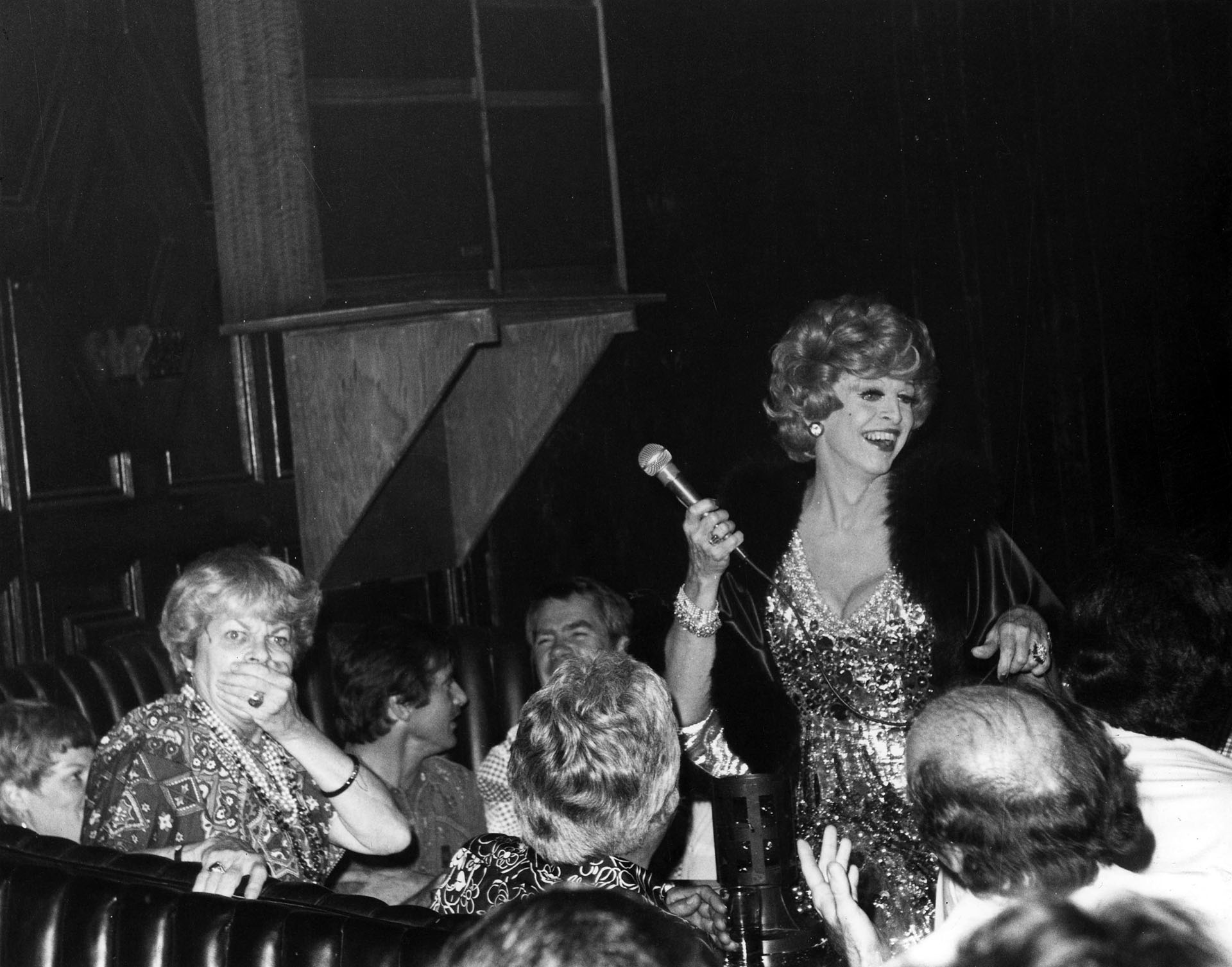 Charles Pierce performs as Martha Raye at the Cabaret, scandalizing the real Martha Raye, 1975