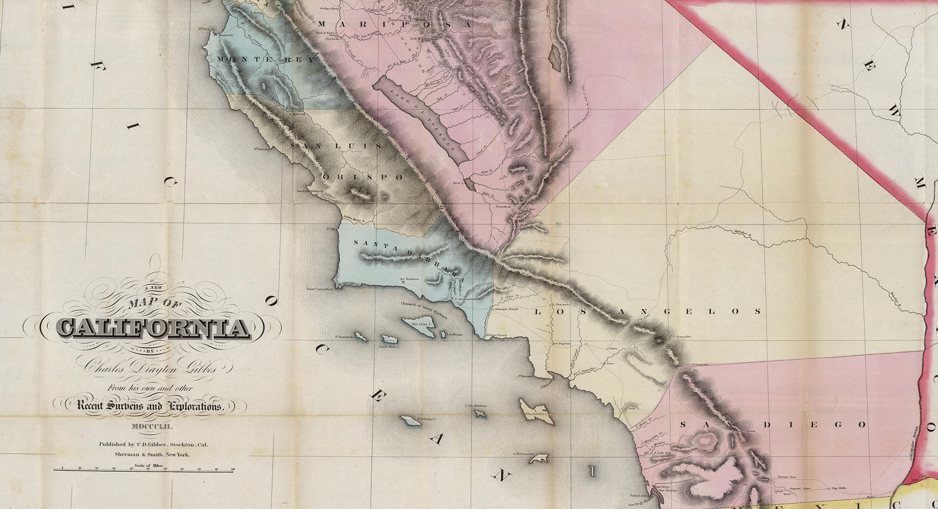 In 1852, Los Angeles County extended to California's eastern stateline, where it bordered the New Mexico Territory. Courtesy of the David Rumsey Map Collection.