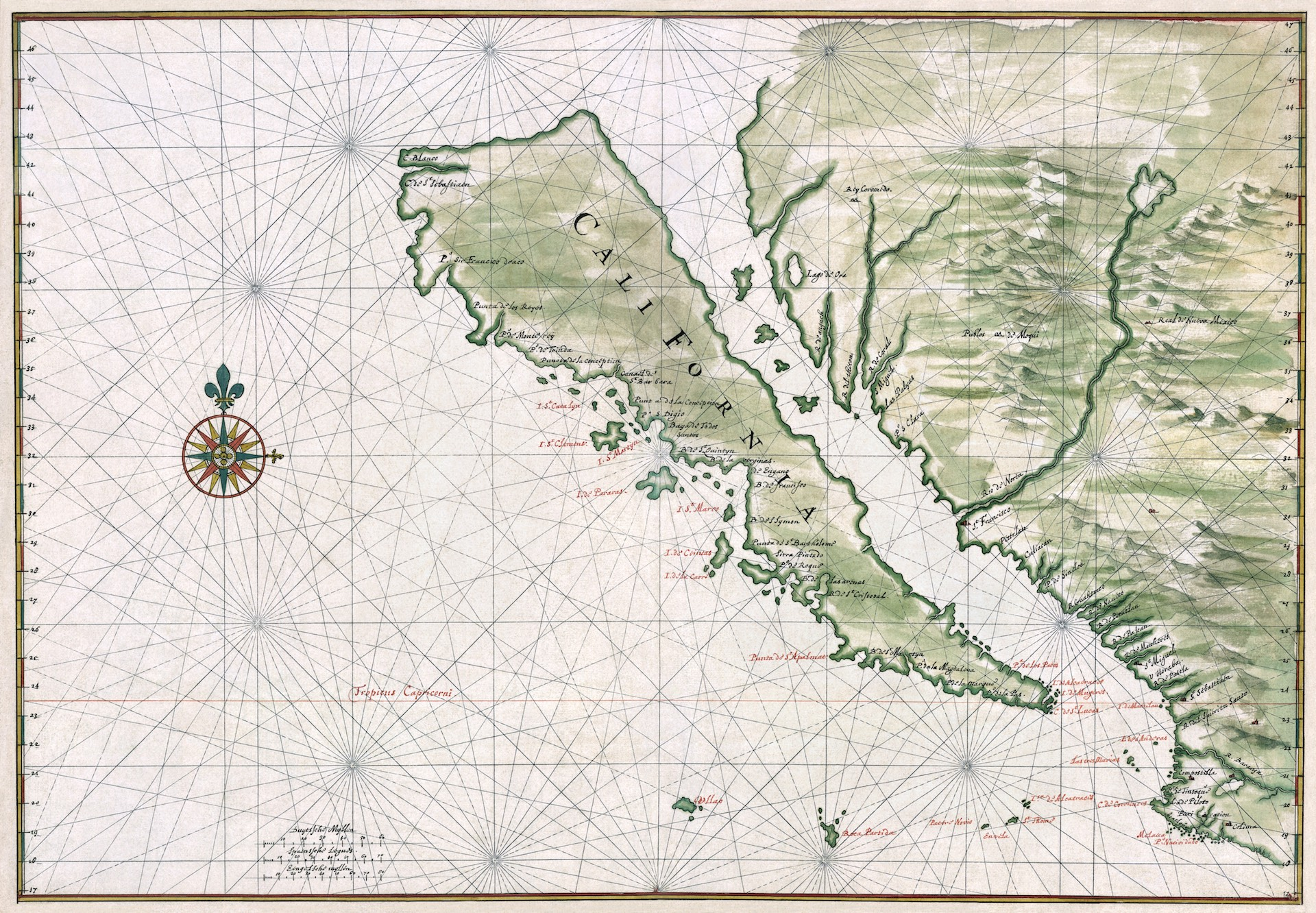 Map of California as an Island by Joan Vinckeboons (circa 1650)