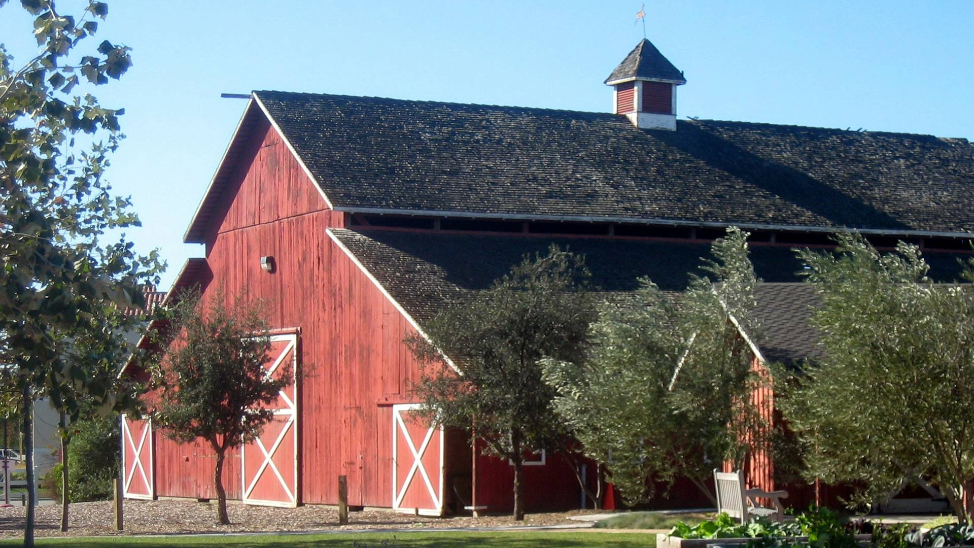 Side view of the red barn at Camarillo Ranch.