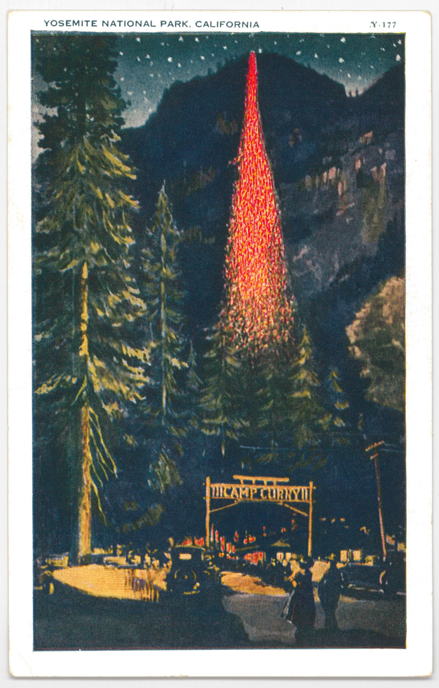 Circa 1930 postcard of Camp Curry and the Firefall