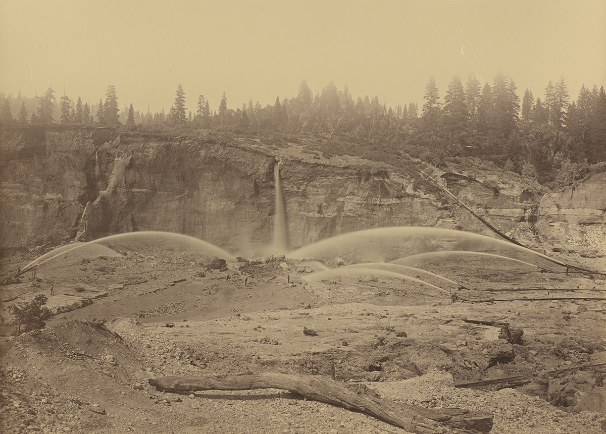 The pit at Malakoff Diggins in 1871, the heyday of hydraulic mining.   Wikimedia Commons/National Gallery of Art Patrons' Permanent Fund/Public Domain