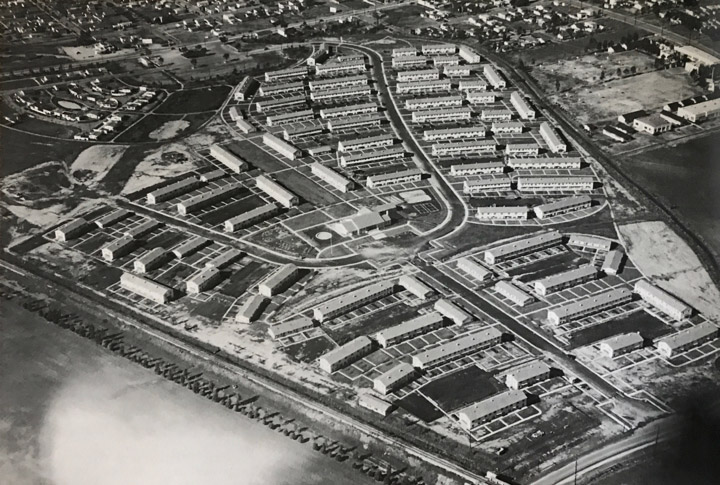 1939 aerial photo of Carmelitos Housing Project in North Long Beach. | Historical Society of Long Beach.