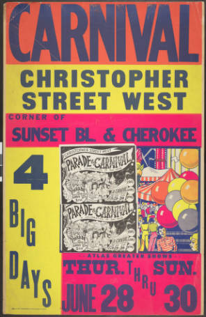 Christopher Street West carnival poster, 1974.   Christopher Street West/Los Angeles, ONE National Gay and Lesbian Archives, USC Libraries