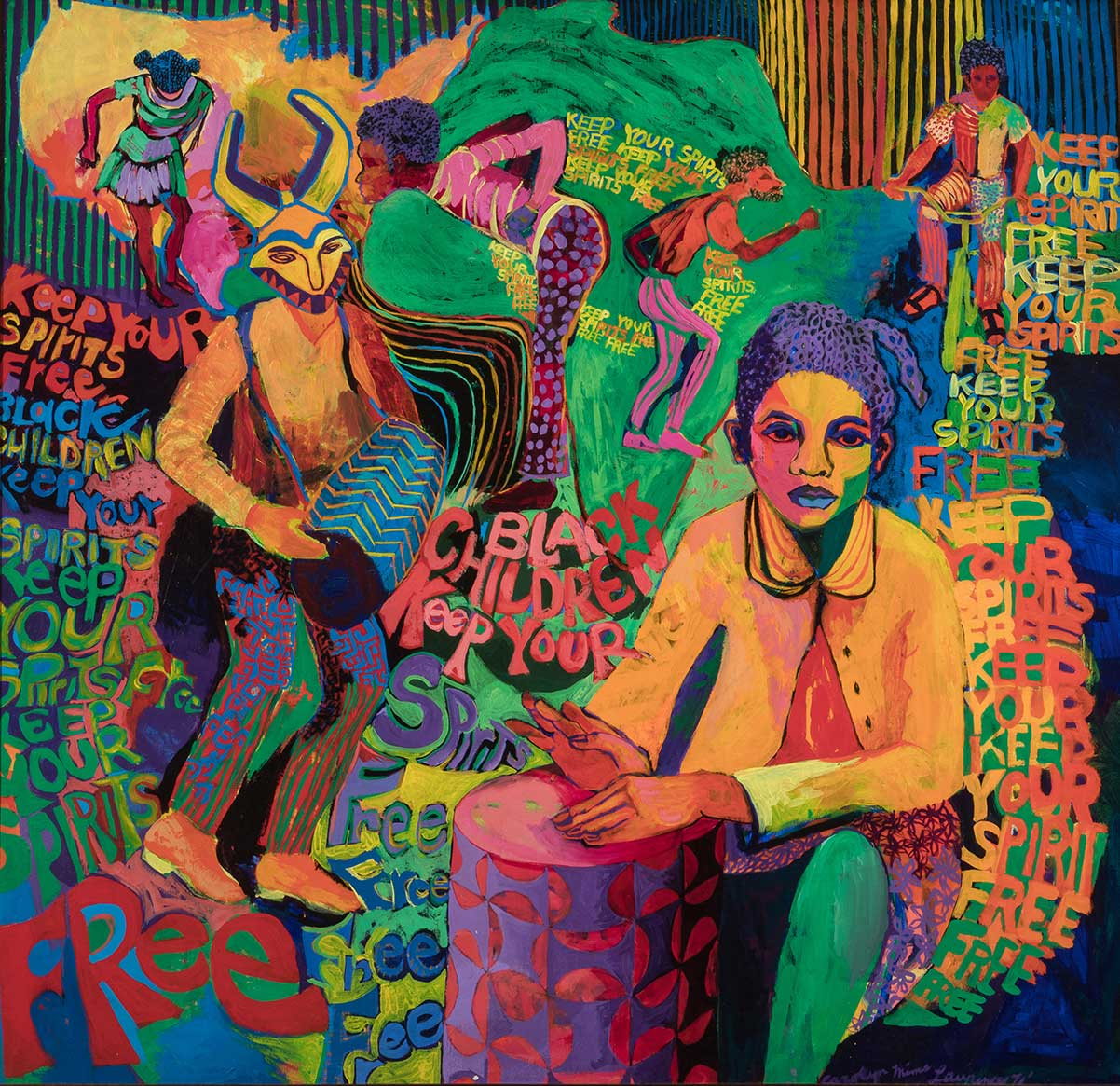 Carolyn Lawrence, Black Children Keep Your Spirits Free, 1972. Acrylic on canvas. 49 x 51 x 2 in. Image courtesy of the artist. | Carolyn Mims Lawrence