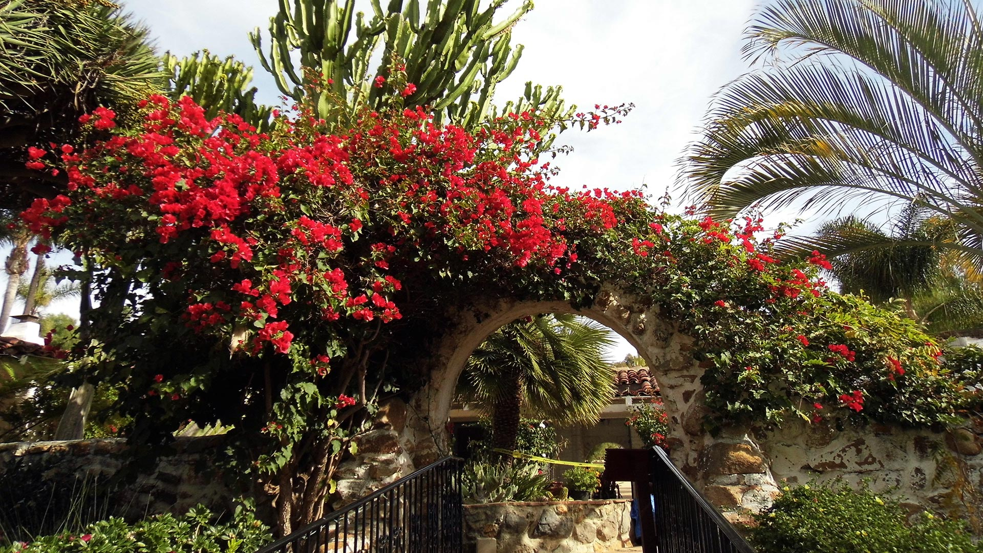 An archway with overgrown flowers at the Leo Carrillo Ranch Historic Park.