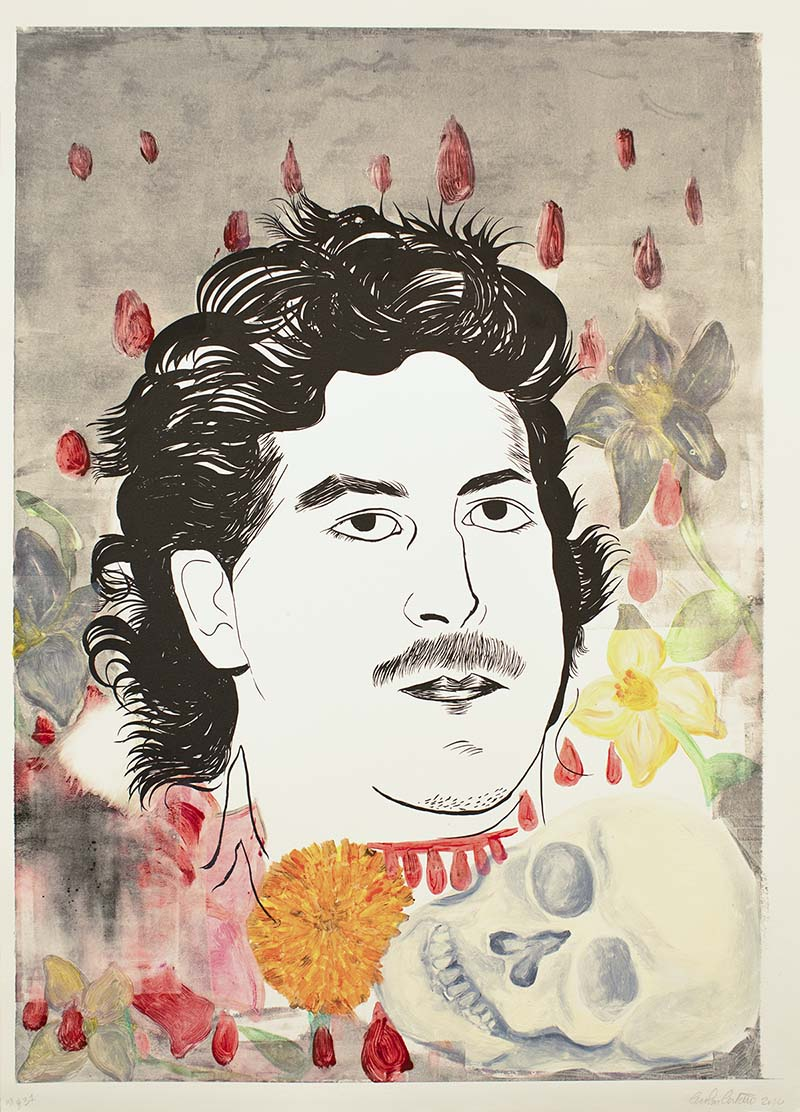 Carolyn Castaño Untitled (Drug Lord and Patron), 2010. Monoprint | Courtesy of El Nopal Press