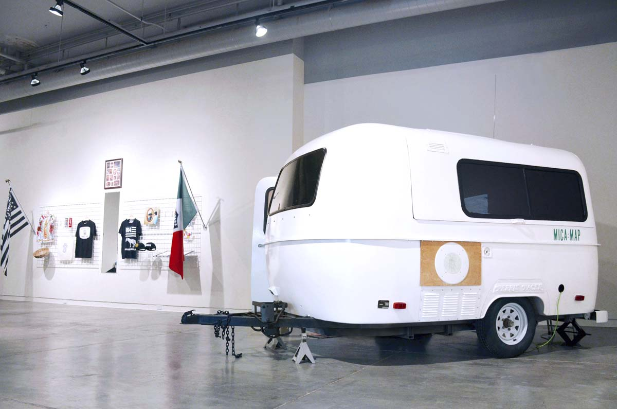 The Mobile Institute for Citizenship & ARt (MICA), 2016, at CSUF Grand Central Art Center. MICA is a nomadic platform for research, dialogue and exchange, housed within a retrofitted fiberglass trailer. | Courtesy of Cog•nate Collective