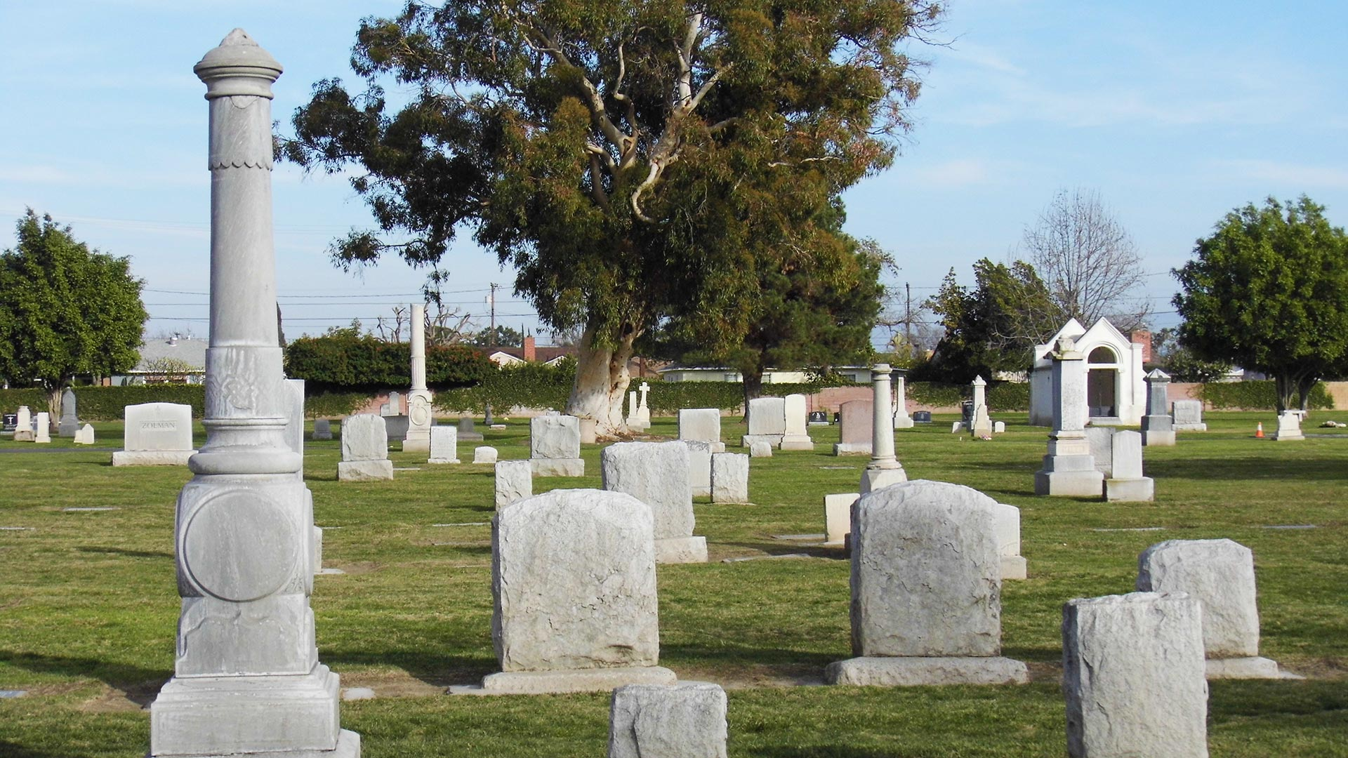 A line of tombstones from the Anaheim Cemetery.