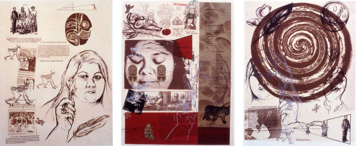 "Yreina D. Cervántez ""The Nepantla Triptych: Nepantla, Mi Nepantla, Beyond Nepantla,"" 1995-1996 Lithograph 