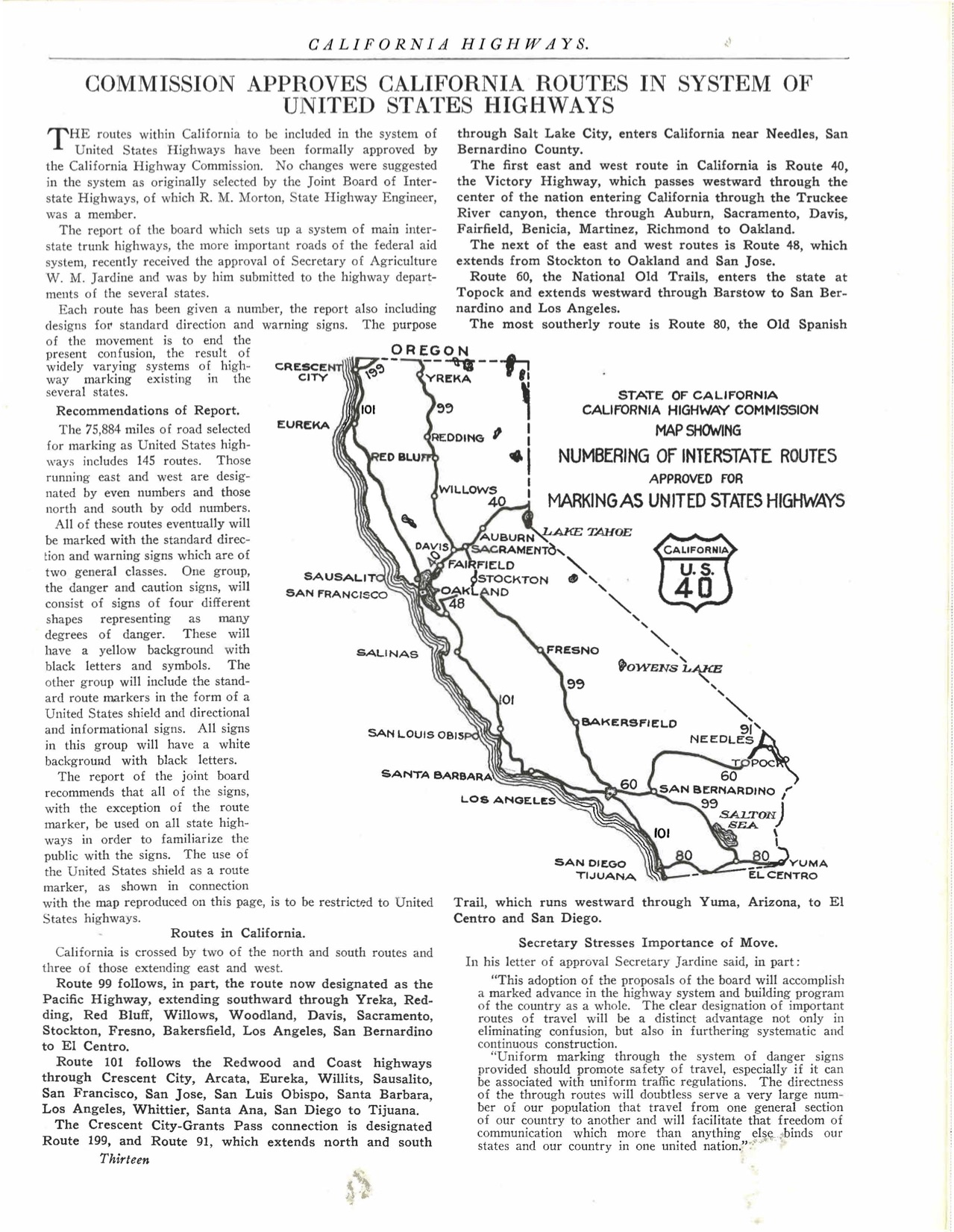 The journal California Highways announced the new US numbered highway system in its 1926 edition. Courtesy of the Metro Transportation Library and Archive.