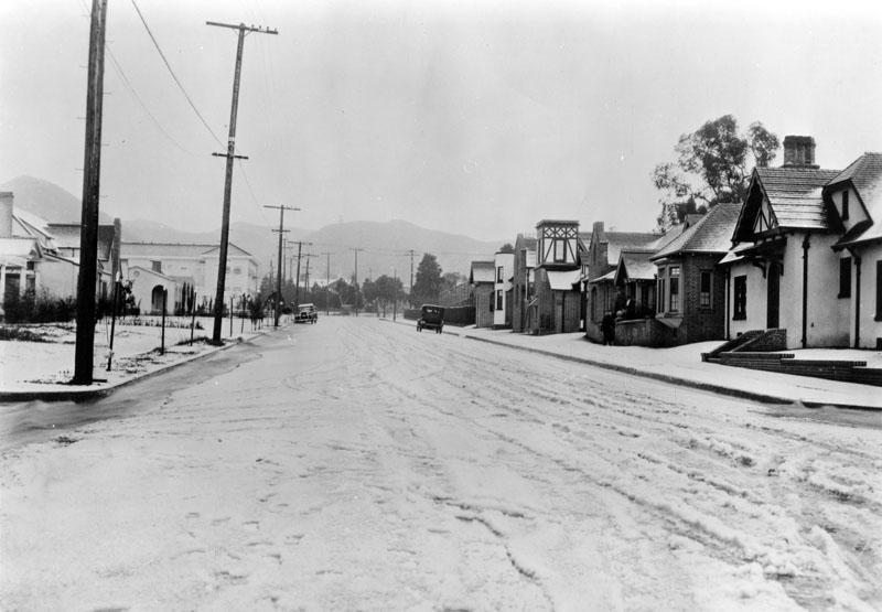 Snow on La Brea Blvd. in Hollywood in 1921