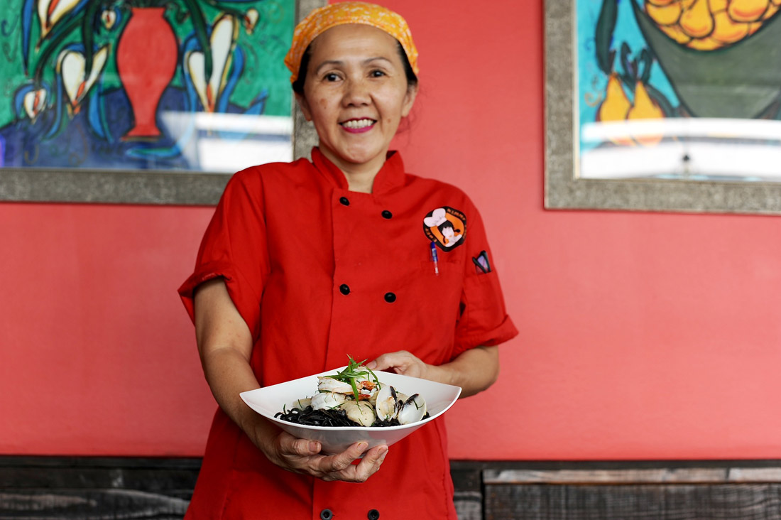 Chef Kimmy Tang Holding Squid Ink Pasta | Eddie Lin