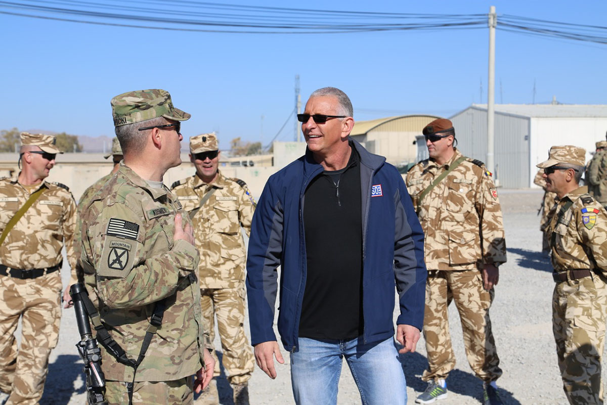 Robert Irvine meeting with troops | Courtesy Robert Irvine