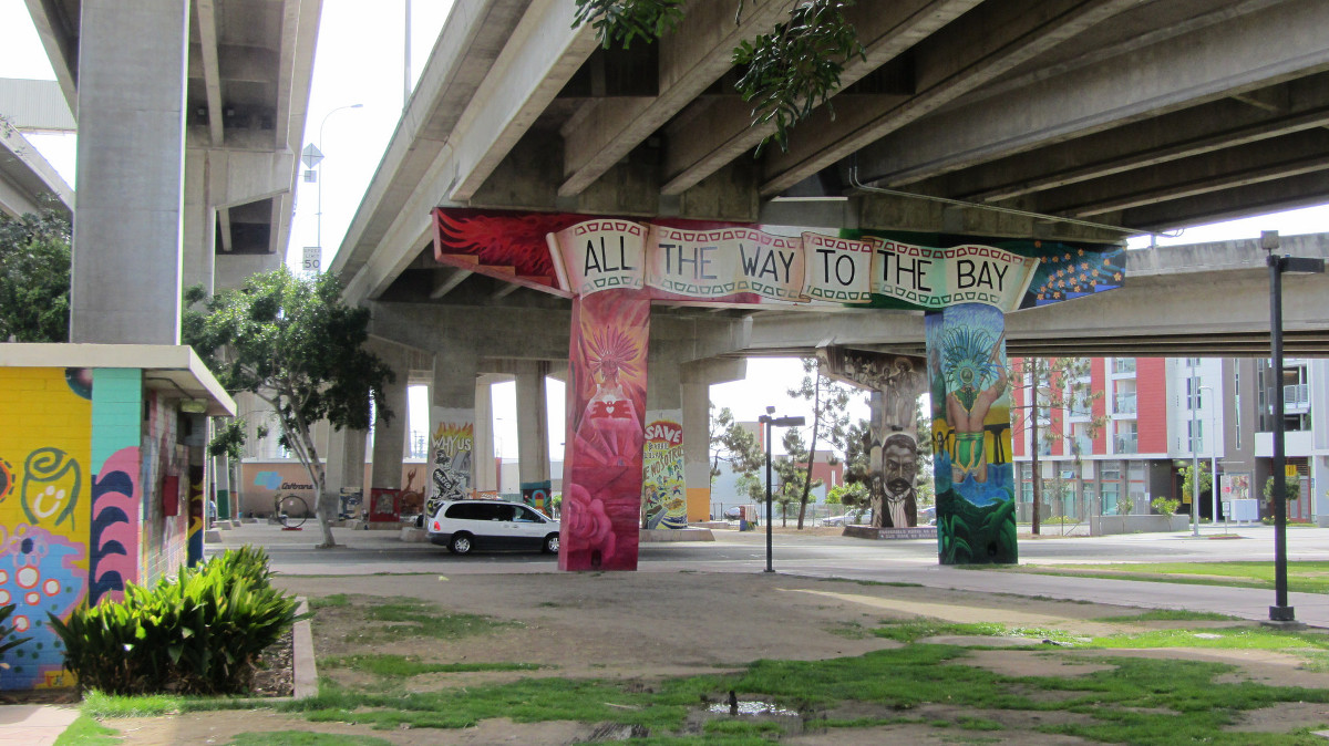 Chicano Park mural -  All the Way to the Bay