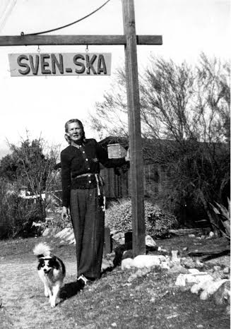 Christina Lillian with Sven-Ska sign | Courtesy of Evan and Sharon Lindquist