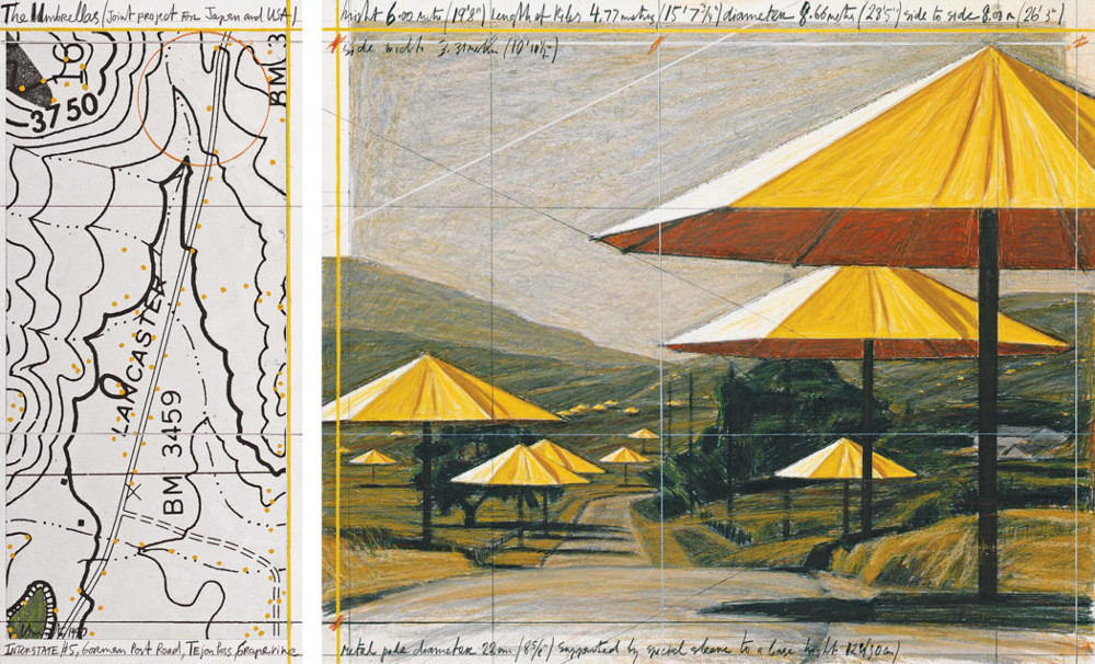 Christo  The Umbrellas (Joint Project for Japan and USA)  Collage 1990 in two parts