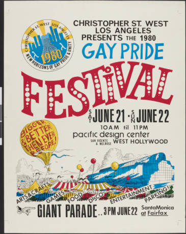 Christopher St. West Los Angeles presents the 1980 gay pride festival, poster.   Christopher Street West/Los Angeles, ONE National Gay and Lesbian Archives, USC Libraries