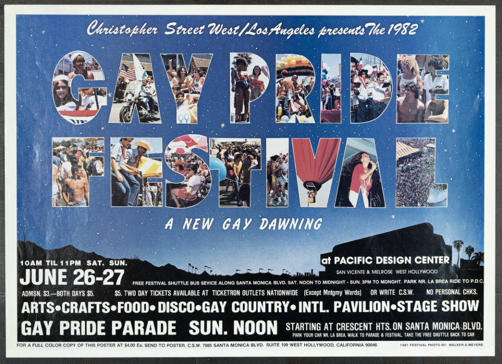 """Christopher Street West/Los Angeles presents the 1982 gay pride festival featuring the words """"A new gay dawning,"""" poster.   Walker & Meyers, Christopher Street West/Los Angeles, ONE National Gay and Lesbian Archives, USC Libraries"""