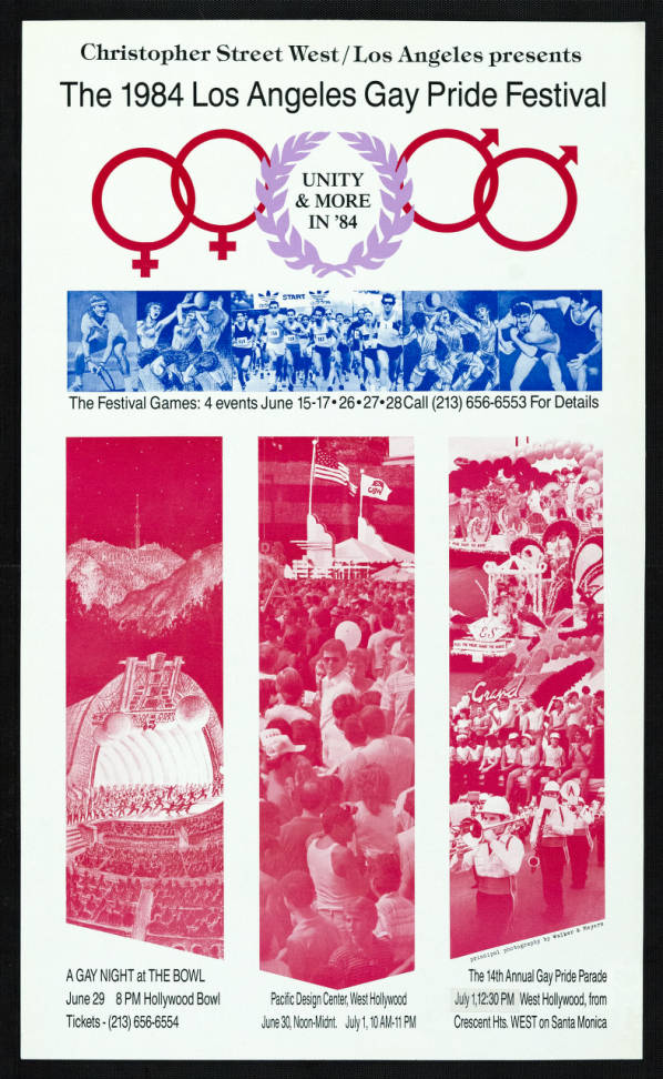 """Christopher Street West/Los Angeles presents the 1983 gay pride festival featuring the words """"Unity & more in '84,""""  poster.   Walker & Meyers, Christopher Street West/Los Angeles, ONE National Gay and Lesbian Archives, USC Libraries"""