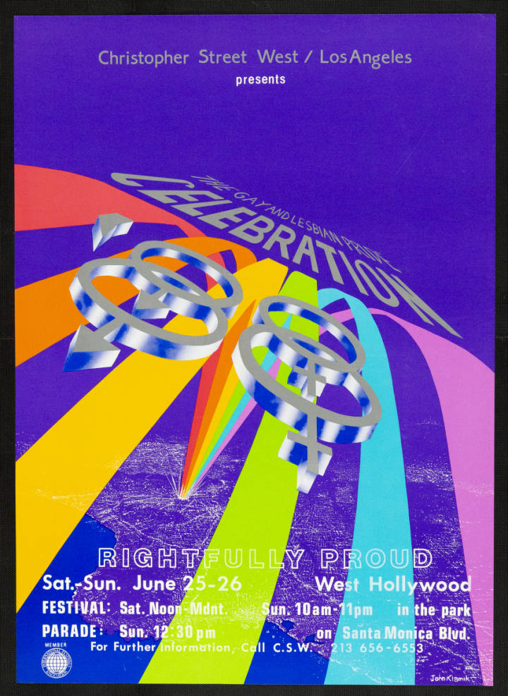 """Christopher Street West/Los Angeles presents the gay and lesbian pride celebration poster featuring the words """"Rightfully proud,"""" 1988.   John Klamik, Christopher Street West/Los Angeles, ONE National Gay and Lesbian Archives, USC Libraries"""