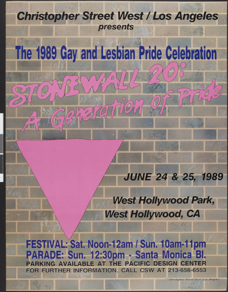 """Christopher Street West/Los Angeles presents the 1989 gay and lesbian pride celebration poster featuring the words """"Stonewall 20: a generation of pride; June 24 & 25, 198, West Hollywood Park, West Hollywood, CA."""" 