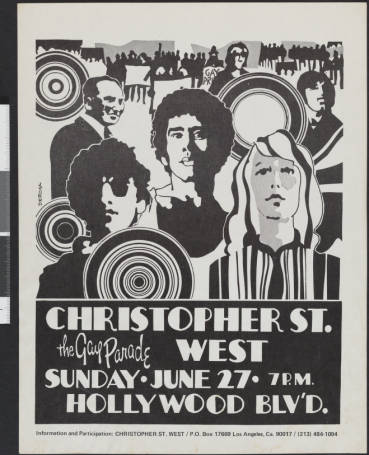 Poster for the 1972 Christopher Street West gay parade, 1972.   Christopher Street West/Los Angeles, ONE National Gay and Lesbian Archives, USC Libraries