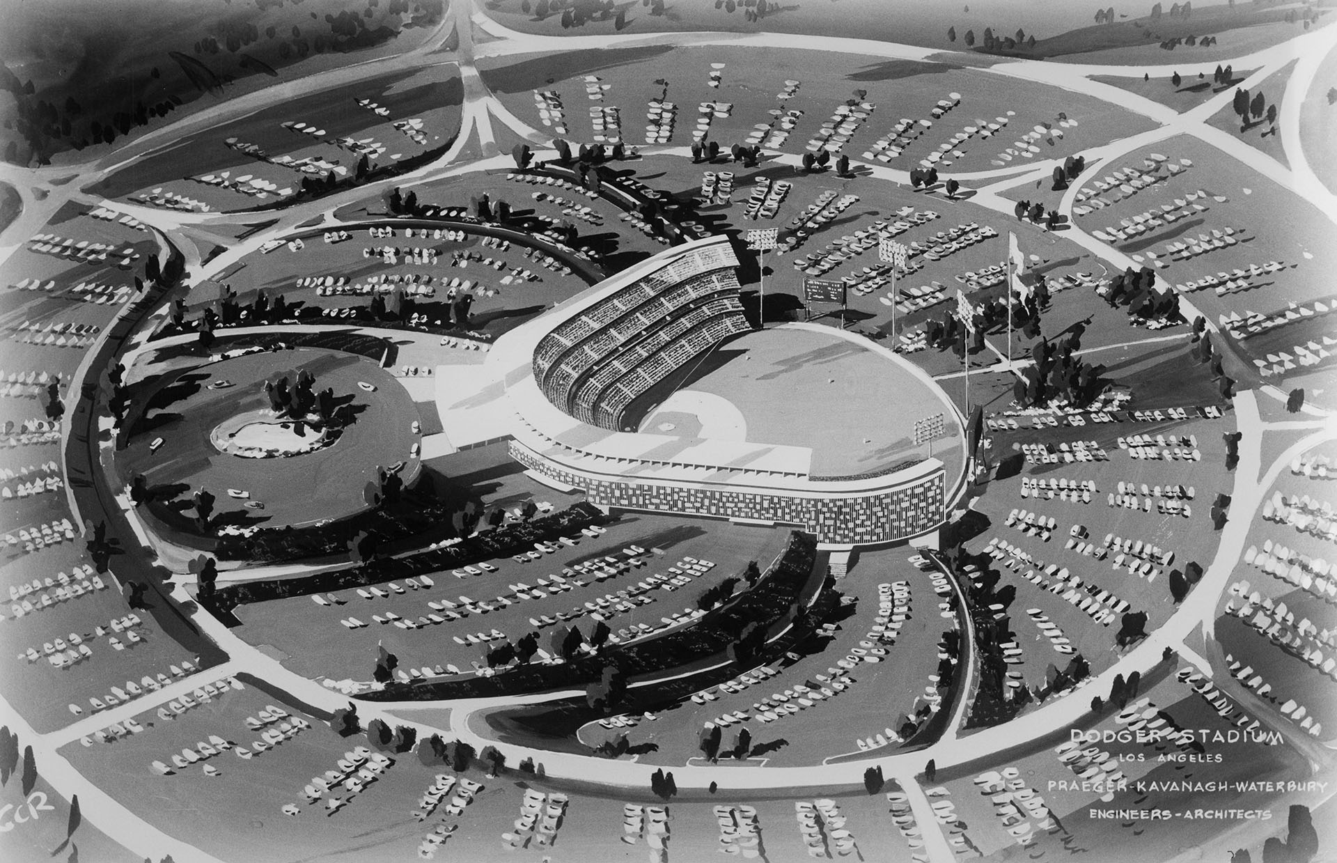 This 1959 architectural drawing of Dodger Stadium did not envision outfield pavilions, which were later added to the design. Courtesy of the USC Libraries - California Historical Society Collection.