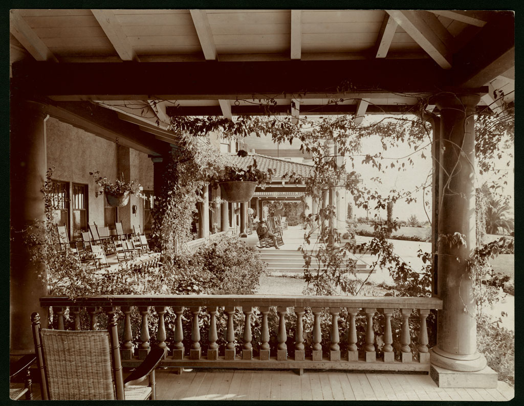 Circa 1890 view of the Raymond Hotel porch. Courtesy of the Title Insurance and Trust / C.C. Pierce Photography Collection, USC Libraries.