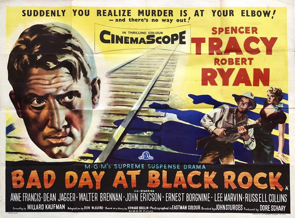 """Bad Day at Black Rock"" (1955) stars Spencer Tracy and Robert Ryan, along with upcoming A-list actors including Lee Marvin and Ernest Borgnine. Filmed between Owenyo and Lone Pine, California, on the northern edge of the Mojave Desert. MGM Entertainment."