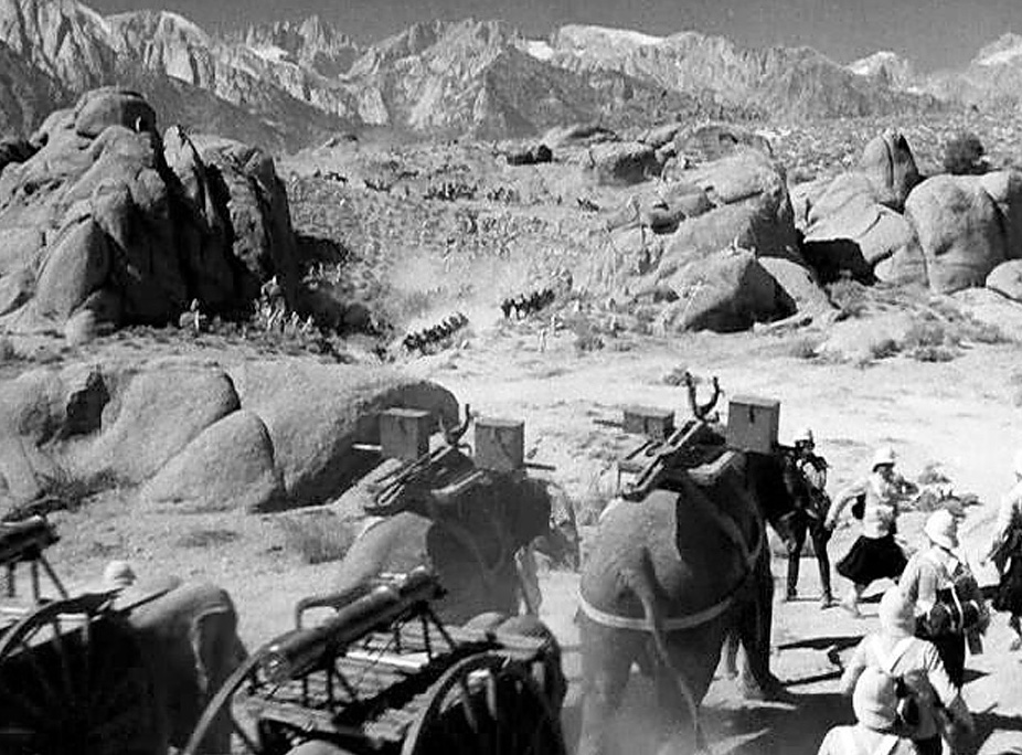 "The exotic temple scene in ""Gunga Din"" (1939) starring Cary Grant and Douglas Fairbanks, Jr., was constructed in the heart of the Alabama Hills outside of Lone Pine, California — a favorite location for classic Western films. RKO Radio Pictures."