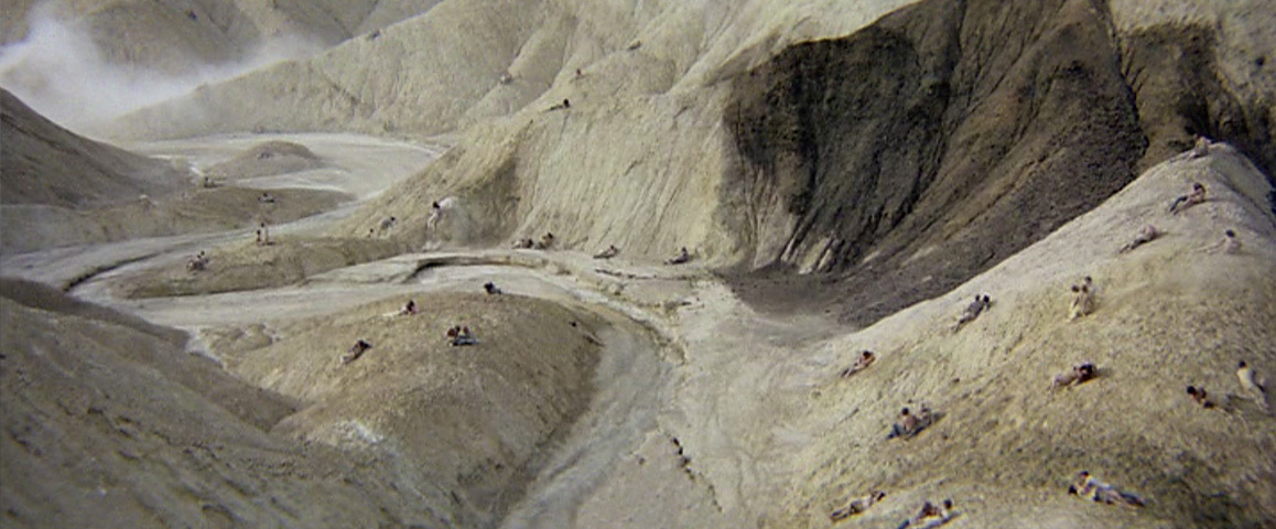"The infamous orgy scene from Michelangelo Antonioni's 1970 counterculture classic, ""Zabriskie Point,"" starring Mark Frechette, Daria Halprin and Rod Taylor, was shot at Death Valley's popular scenic overlook of the same name. Metro-Goldwyn-Mayer."
