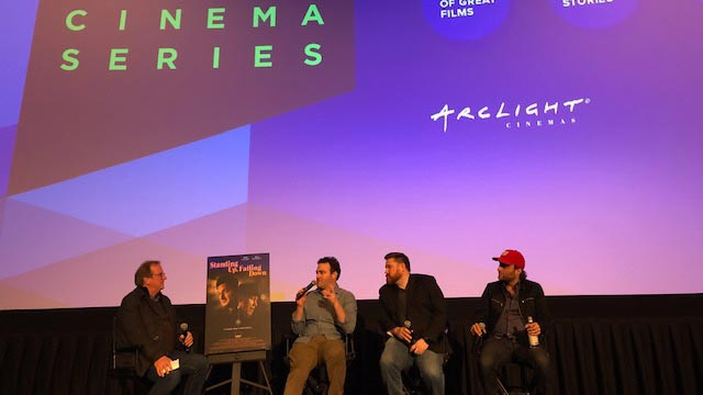 """KCET Cinema Series host Pete Hammond moderated a Q&A session with director Matt Ratner and producers Chris Mangano and John Hermann for their film """"Standing Up, Falling Down."""""""