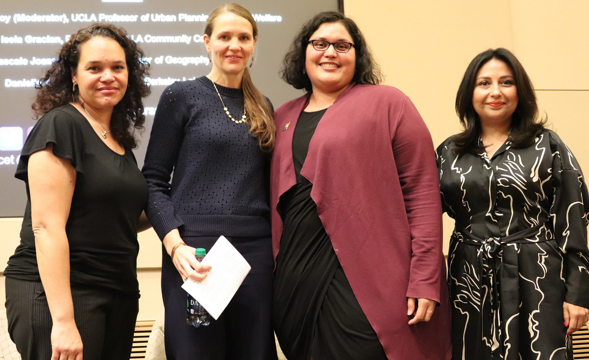 Danielle Mahones (Director, Leadership Development Program, UC Berkeley Labor Center), Pascale Joassart-Marcelli, Isela Gracian and Ananya Roy participate in a panel discussion after the premiere screening of CITY RISING: THE INFORMAL ECONOMY