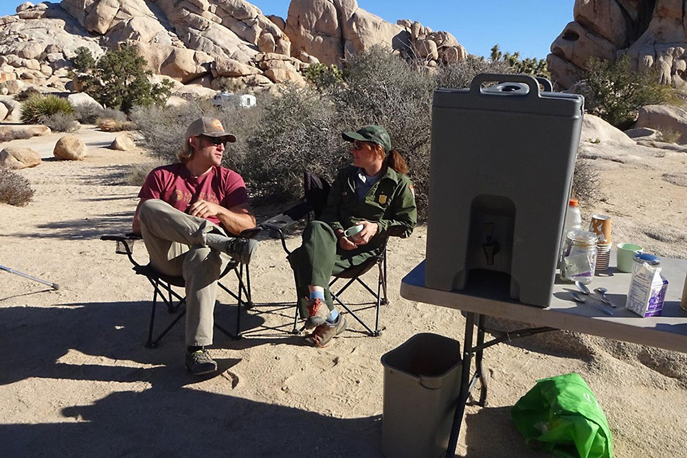 The JTNP climbing ranger Bernadette Regan (right) hosts Climber Coffee on Saturday and Sunday mornings at Hidden Valley Campground |Courtesy of JTNP