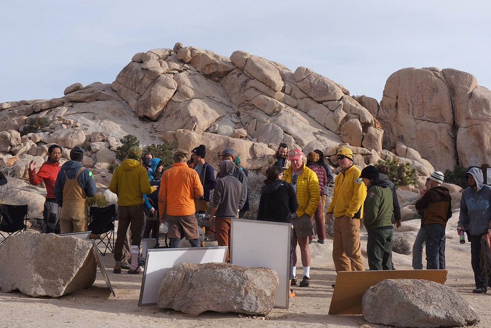 A group of climbers gathers for the JTNP hosted Climber Coffee at Hidden Valley Campground. | Courtesy of JTNP